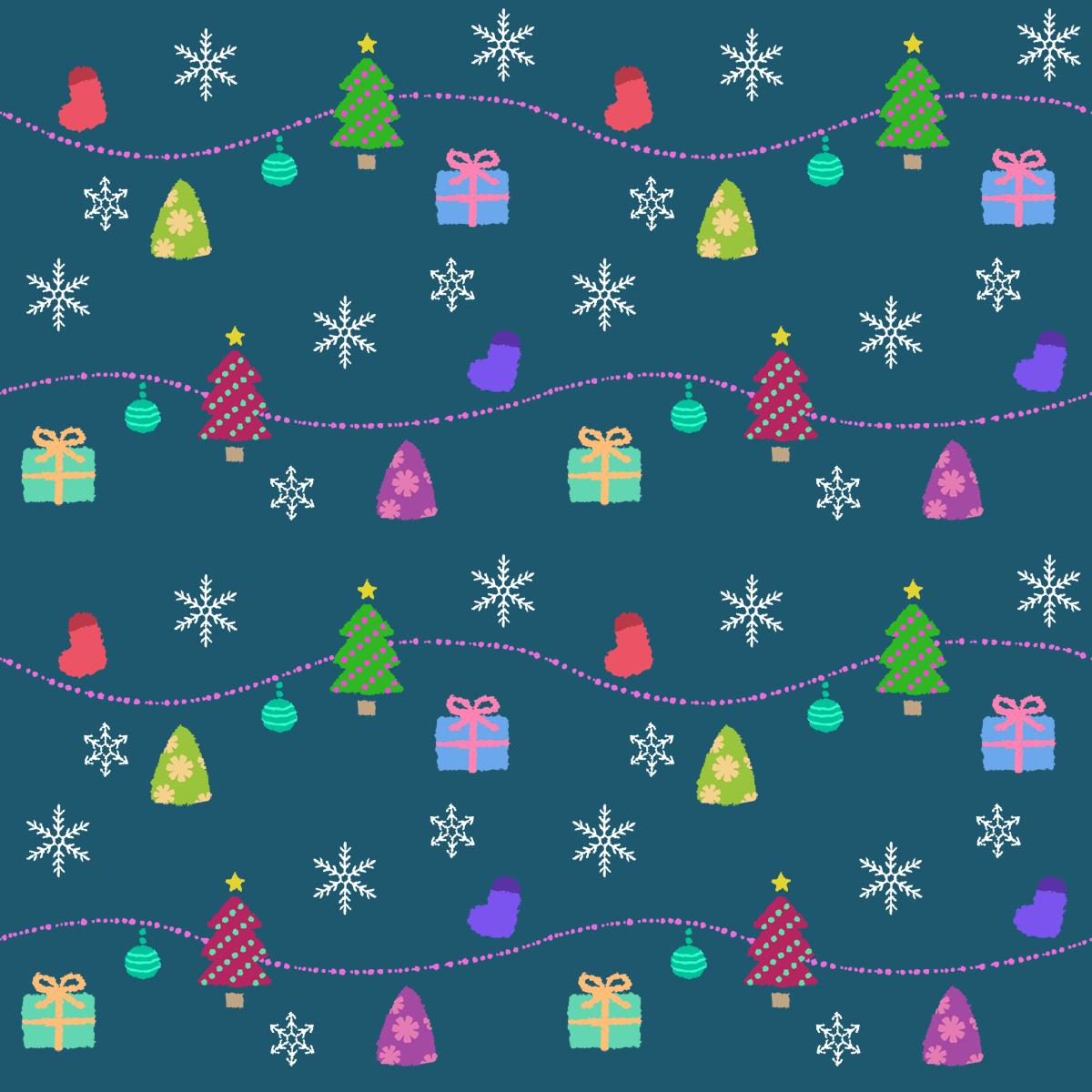 クリスマス柄(ツリー・小物)-無料シームレス背景素材: イラストpripri