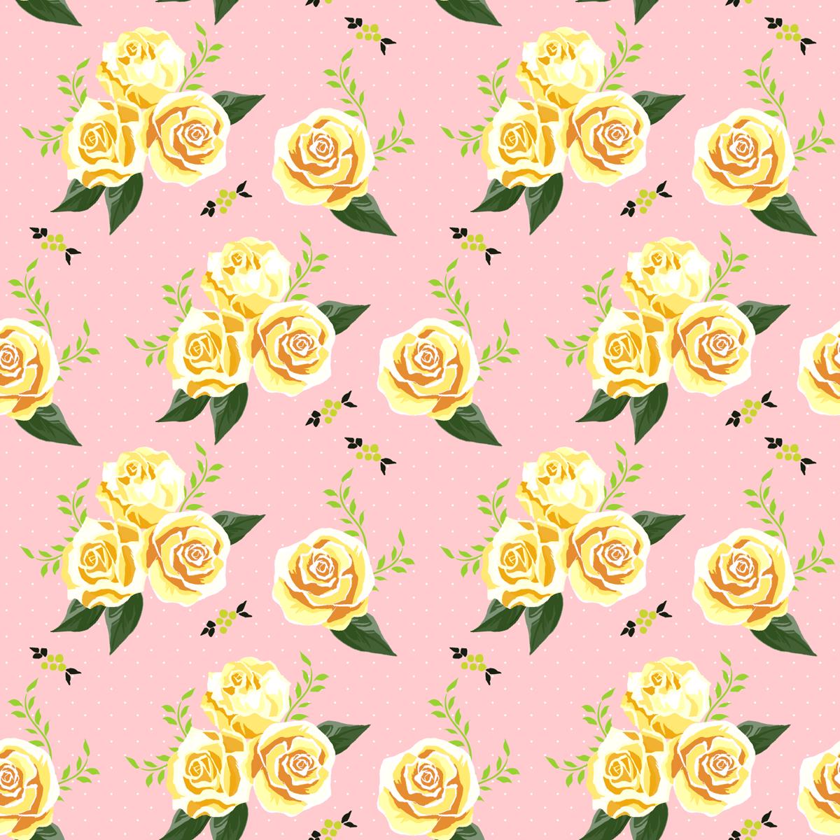 フェミニンな花柄-無料シームレス背景素材: イラストpripri